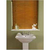 Autumn Gold Faux Wood Blind With Cords - Arena Expressions