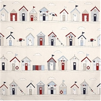 Seaside Huts Blue Roman Blind