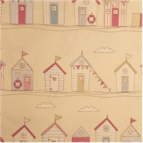 Seaside Huts Pink Roman Blind