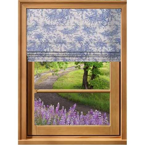 Toile French Blue Roman Blind